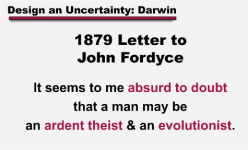 Darwin Quote about theism and evolutionism